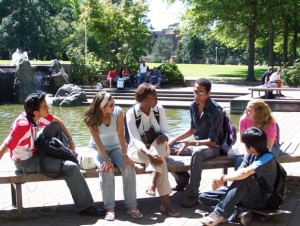 students chatting on campus 621x466