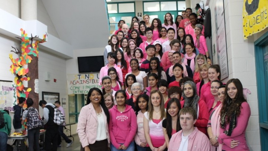 large richmond hill h s students and staff wear pink to support anti bullying efforts copy